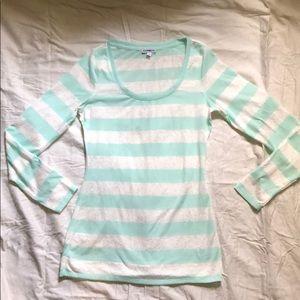 ☘️EXPRESS Sea green&white sheer long sleeved shirt